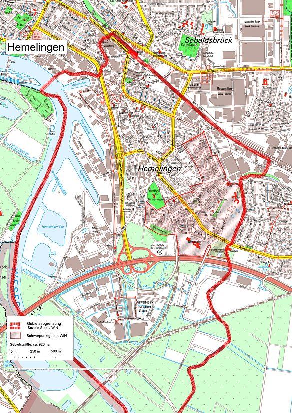 Übersichtskarte über das Fördergebiet Hemelingen